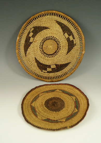 """Pair of beautifully woven trays, largest is 7 1/4"""" wide."""