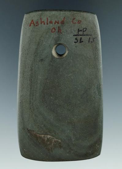 "2 15/16"" Trapezoidal Slate Pendant found in Ashland Co., Ohio."