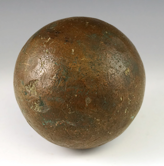 """Heavy 15 pound 4 1/4"""" diameter Cannonball that is very heavily patinated found in South Carolina."""