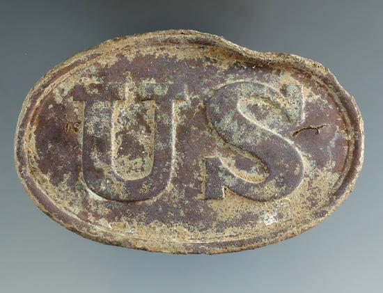 "3 3/8"" Wide Civil War Era U. S. Cartridge Box Plate dug near Stones River."