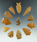 Set of 12 Colorado arrowheads made from attractive materials, largest is 1 1/2