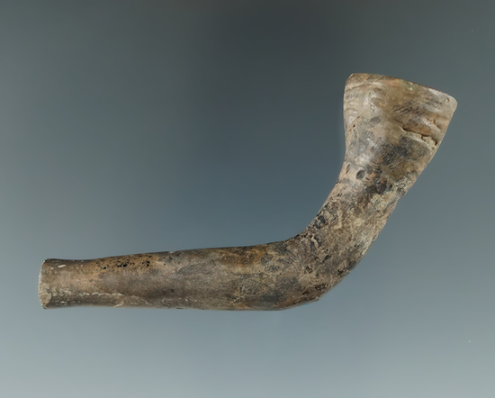 """2 3/4"""" Iroquois clay ring bowl pipe found on the Drake farm, Naples New York."""