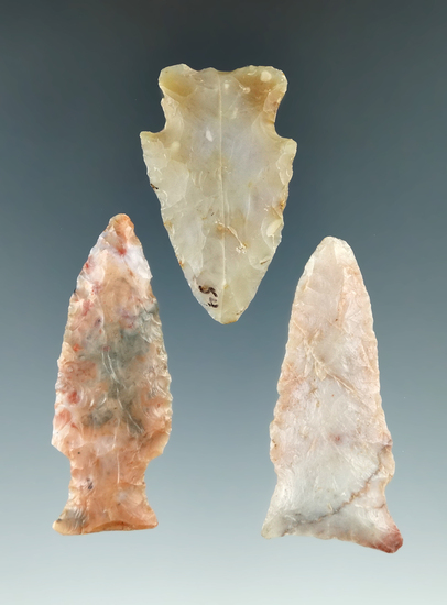 """Set of three attractive Flint Ridge Flint Hopewell points found in Ohio, largest is 2 1/4""""."""