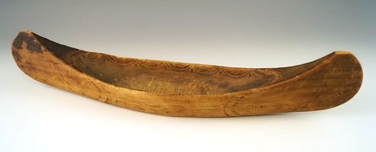 """Vintage 13"""" long handcarved and nicely decorated wooden canoe from sugar Island, Michigan."""