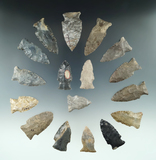 Group of 17 assorted arrowheads found in Ohio, largest is 2 3/16
