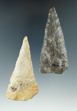Pair of Flint knives found in Ohio, largest is 3 3/8