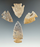 4 fine Pipe Creek Points found in Huron & Richland Co., Ohio. Great colorful examples!