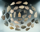 Large group of 40 field grade arrowheads found in Ohio, largest is 2 1/8