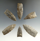 Set of six assorted Lanceolate points found in New York, largest is 2 3/8