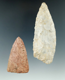 Pair of large Flint knives found in Ohio, largest is 4 5/16