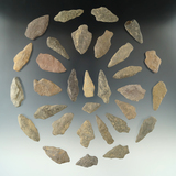 Group of 31 assorted stone arrowheads found in New Jersey, largest is 1 7/8