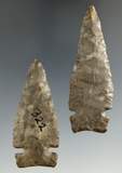 Pair of well flaked Intrusive Mound Sidenotch points - Onondaga Flint - Allegheny Co., NY.