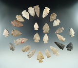 Group of 26 Ohio arrowheads, largest is 1 7/8