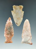 Set of three attractive Flint Ridge Flint Hopewell points found in Ohio, largest is 2 1/4
