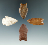 Set of four Colorado arrowheads, largest is 1 9/16