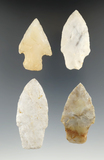 Set of four nice arrowheads found in Delaware Co., Ohio, largest is 2 5/8