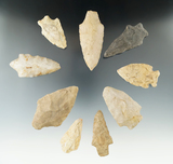 Group of nine assorted arrowheads and knives found in New Jersey. Largest is 3