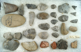 Group of assorted artifacts found at the Ellis farm site, orchard Park New York.