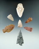 Group of seven assorted arrowheads found in Kansas, largest is 2 3/8