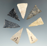 Seven nicely flaked Mississippian triangle points found in Ohio, largest is 1 3/8