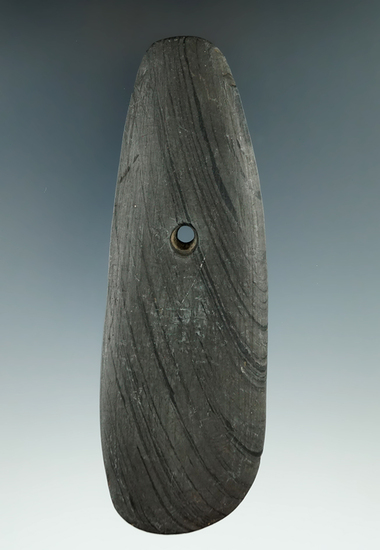 """5 1/4"""" Hopewell Trapezoidal Pendant made from gray and black Banded Slate and found in Hamilton Co.,"""