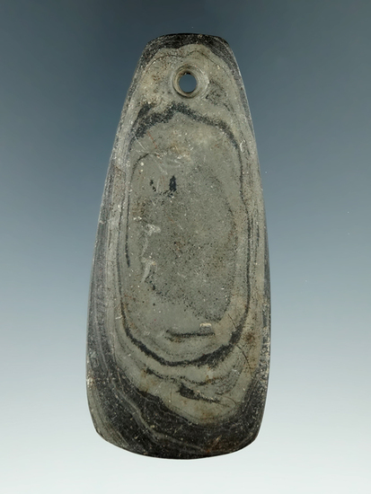 """3 5/8"""" Adena Trapezoidal Pendant made from green and black Banded Slate, found in Darke Co., Ohio."""