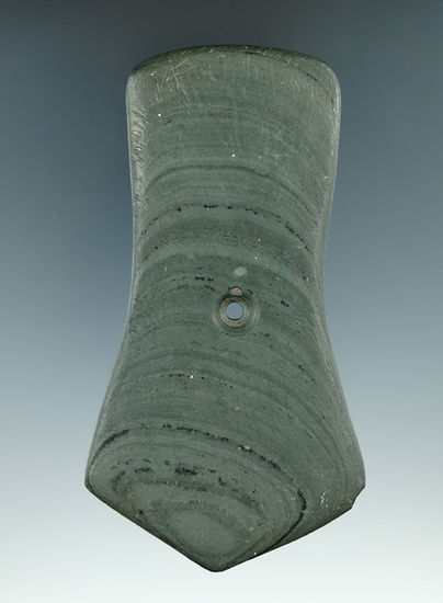 """4 1/4"""" Hopewell Pentagonal Pendant made from Banded Slate. Found in  Howard Twp., Knox Co., Ohio."""