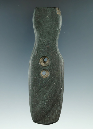 """4 1/2"""" Hopewell Two Hole Pendant made from green and black Banded Slate, found in Ohio. Ex. Al Wakef"""