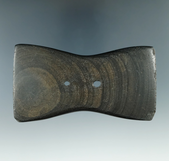 """4 1/16"""" Adena Bi-Concave Gorget made from Banded Slate, found in Delaware Co., Ohio. Pictured"""