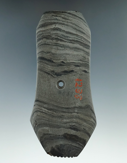 """5 3/16"""" Banded Slate Hopewell Pendant with unique style and tallies, Washtenaw Co., Michigan. Pictur"""