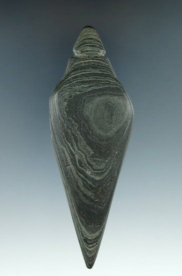 """4 5/8"""" Lizard Effigy made from green and black Banded Slate, found in Butler Co., Ohio. Pictured"""