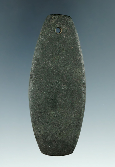 """3 3/16"""" Hopewell Pendant made from Hardstone, found in Ohio. Ex. Bob Craver, Clifford Bauer Collecti"""
