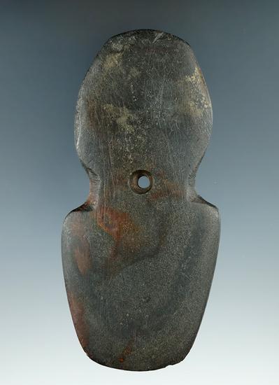 """4 3/4"""" Hopewell Shovel Pendant made from black Slate, found in Mercer Co., Ohio."""