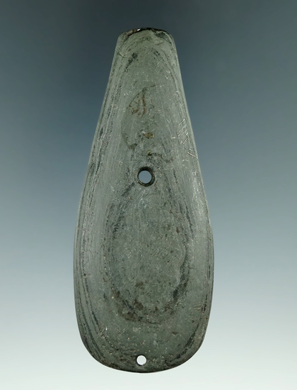 """3 13/16"""" Glacial Kame Teardrop Pendant salvaged from a gorget found in Sand Lake, Michigan. Ex. Mood"""