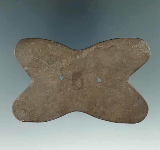 """3 3/4"""" Hopewell Reel Gorget made from red and black Slate, found in Perry Co., Ohio. Ex. Jerre Wall"""