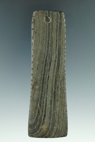 """4 3/16"""" Trapezoidal Pendant that is tallied on all sides, made from green and black Banded Slate. Ex"""