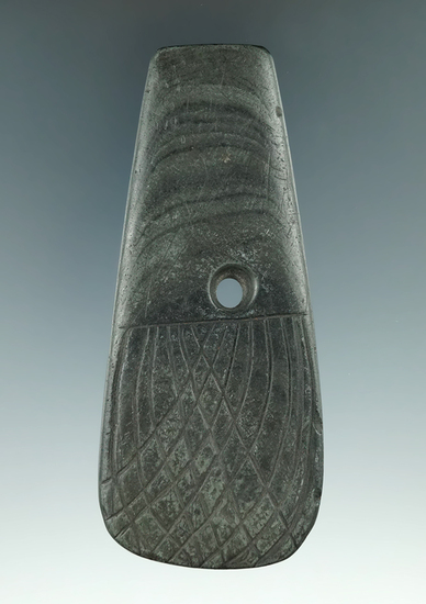 """4 1/16"""" Hopewell Trapezoidal Pendant that is heavily engraved Found in Lee Twp., Athens Co., Ohio. P"""