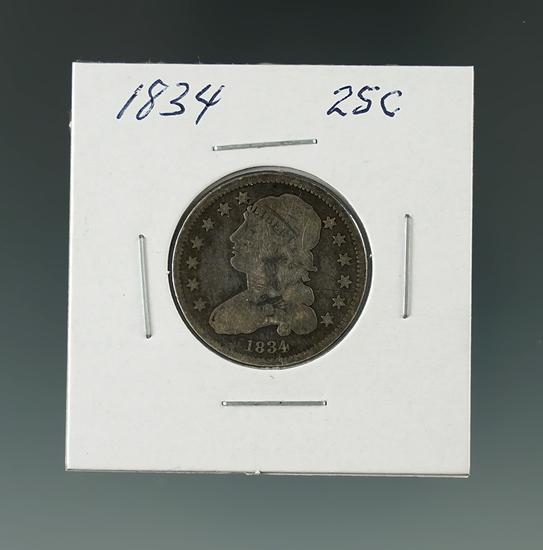 1834 Capped Bust Quarter.