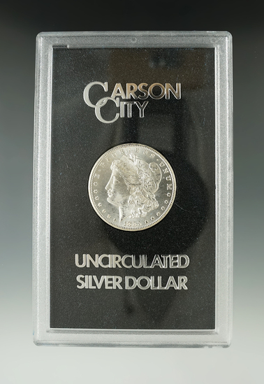 1883-CC Silver Dollar in GSA box with paper.