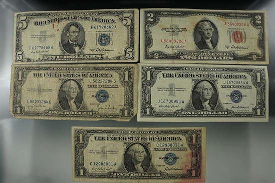 1935D, 1957, & 1957 One $ Silver Certs; 1953A Two $ Red Seal Note; 1953A Five $ Silver Certificate.