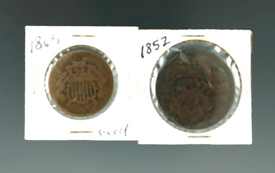 1852 Large Cent & 1865 2 Cent.