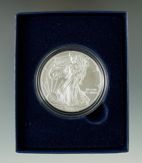 2016 Uncirculated Silver Eagle with box and papers.