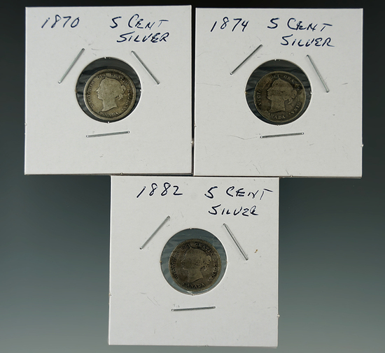 1870, 1874, & 1882 Canadian 5 Cent Silvers.