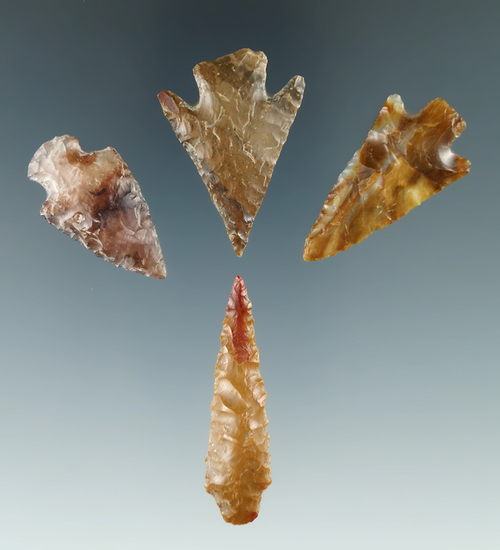 Group of four arrowheads found near the Columbia River in Washington and Oregon.