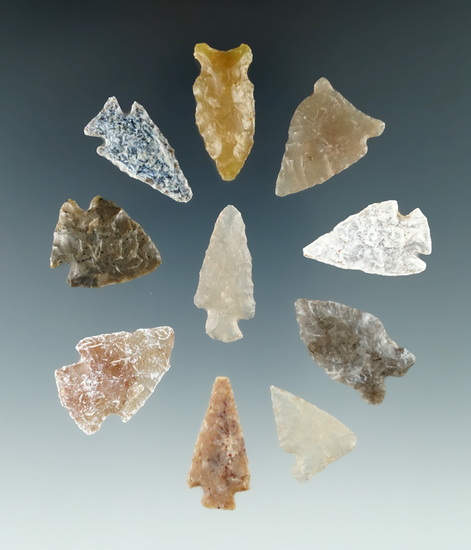 """Group of 10 assorted High Plains arrowheads, largest is 1 3/16""""."""