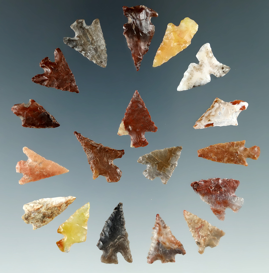 """Group of 18 assorted Columbia River arrowheads found in Washington, largest is 7/8""""."""