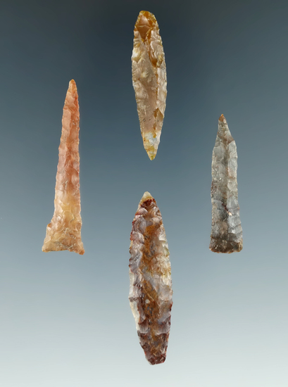"""Set of four Drills found in the Columbia River, largest is 1 13/16""""."""