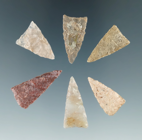 """Set of six Triangle points tha are nicely made found in Colorado. Largest is 1 1/4""""."""