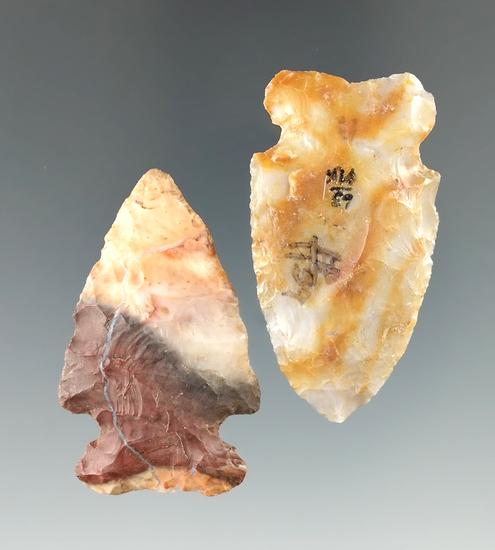 "Pair of beautiful Flint Ridge Flint Archaic Sidenotch points found in Ohio, largest is 1 7/8""."