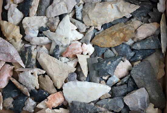 """Box flat of field found Flint artifacts, most have some damage. Largest is 3 5/8""""."""